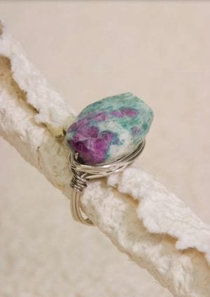 Ruby Zoisite Wire-Wrapped Ring