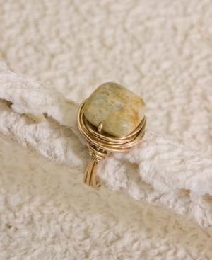 Yellow Jasper Wire-Wrapped Ring