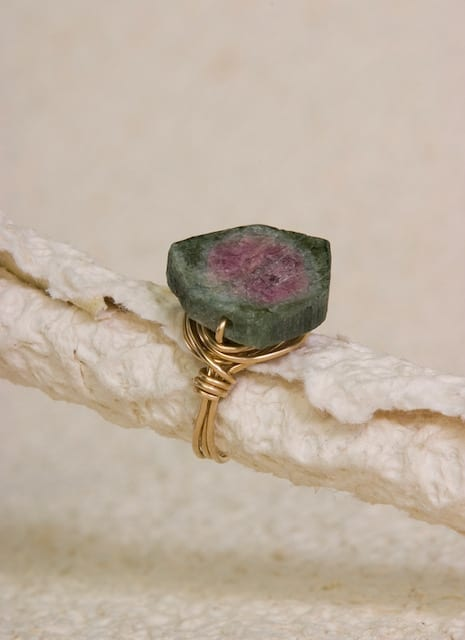 Watermelon Tourmaline Wire-wrapped ring