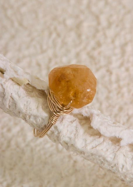 Chunky citrine wire wrapped ring