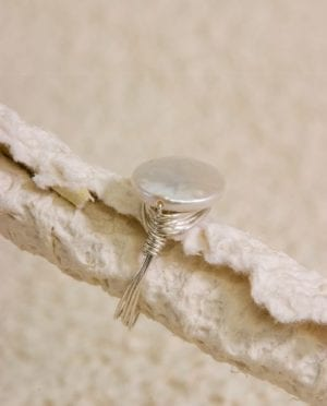 Coin Pearl Wire-Wrapped Ring