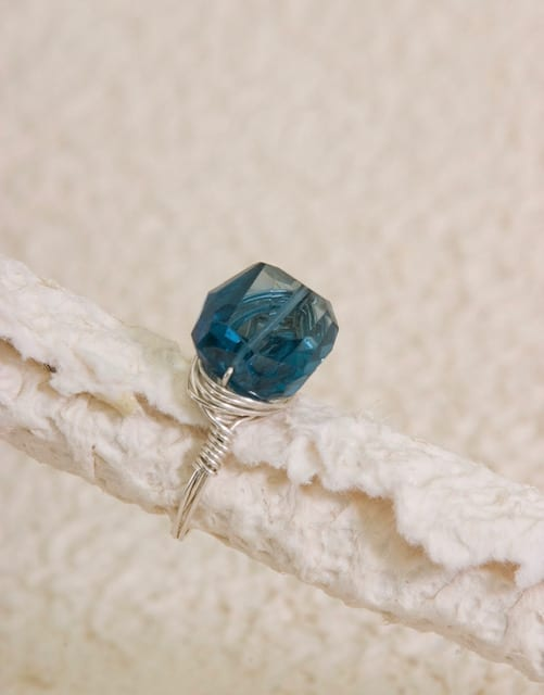 London Blue Topaz Wire-Wrapped Ring