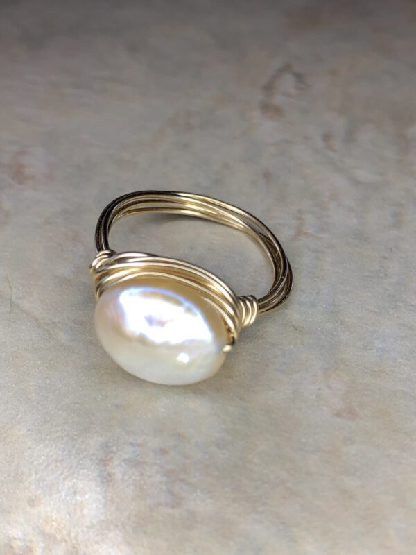 coin pearl wire wrapped ring