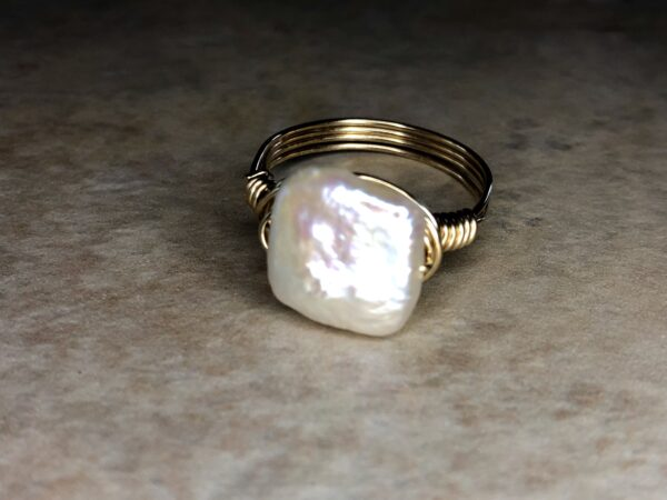 square coin pearl ring with gold wire
