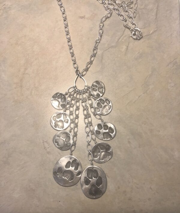 multi paw print necklace
